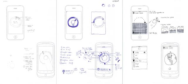 Conceptual sketches of the Sunn app's UI design.