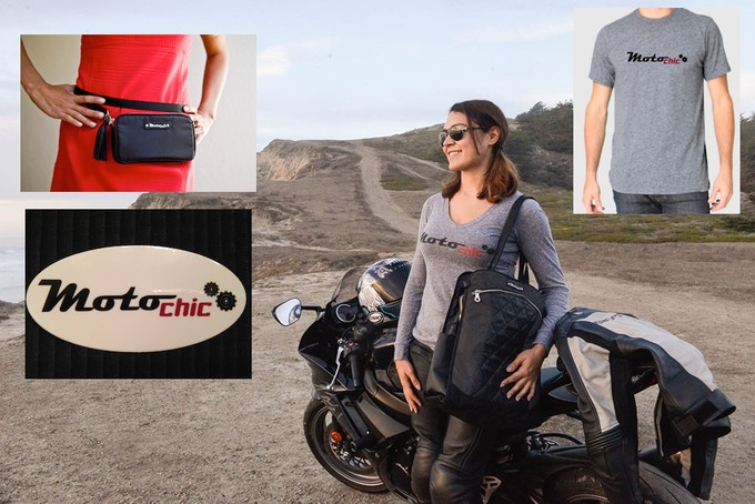"""$300 One of a Kind: Receive the Valerie, Lauren, ladies MotoChic v-neck t-shirt, unisex crew neck t-shirt, and MotoChic 4"""" x 2"""" sticker. Please specify sizes for t-shirts."""