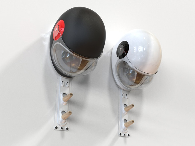 Two wall mounted Helmet and Gear Hangers