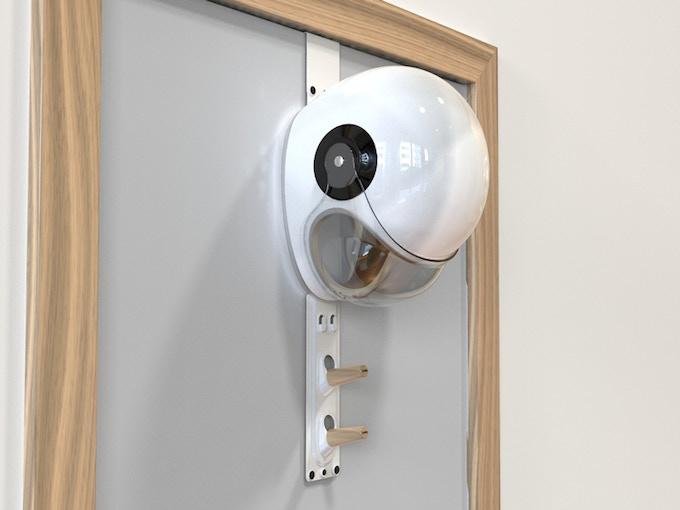 A helmet in place on the door hanger