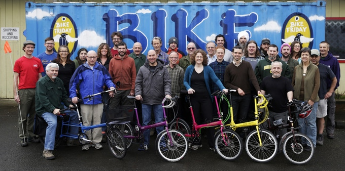 The whole Bike Friday team (including production, support, sales, and administration) in early 2014