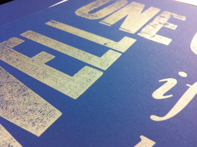 A sample of the lovely Sapphire paper and metallic silver ink.