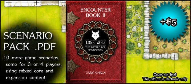 SCENARIO PACK: Electronic download of a second Encounter Book, with 10 more scenarios that include some for 3 or 4 players, and that take advantage of the map pack add-on and any stretch goal expansions (+$5)