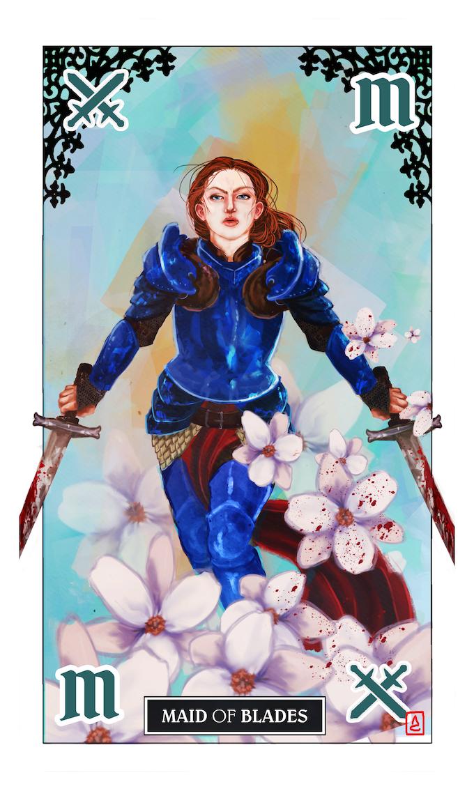 The Maid of Blades. Tarot-poker card by Amanda Castoe.