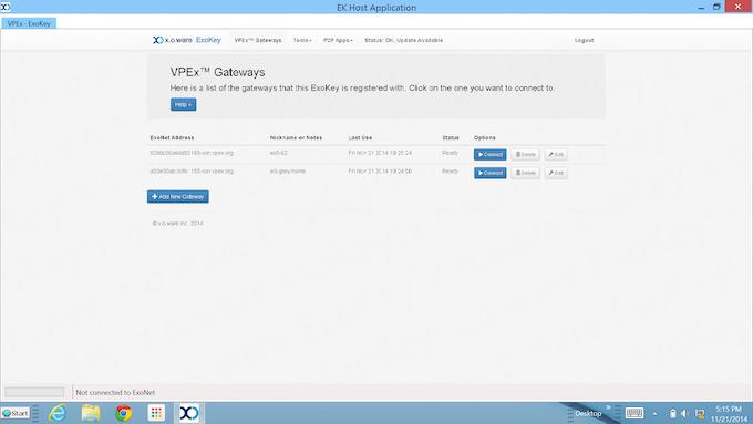 ExoKey Gateway Management Page