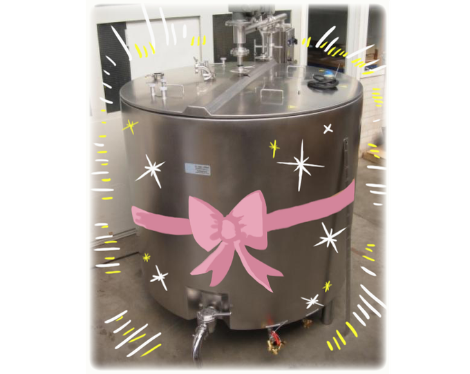 We still need specialized equipment, like this shiny, sparkly pasteurizer.
