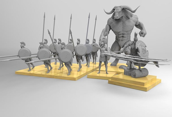 At our initial funding goal, The Greek Starter set will include 10 Hoplites, 1 Lokhagos, 1 Greek Minotaur and an Ares, Greek god of War.