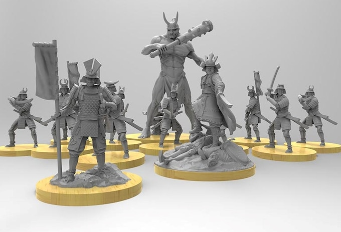 At our initial funding goal, The Japanese Starter set will include Samurai, 1 Dayimo, 1 Japanese Oni and Hachiman, Shinto god of War, tutelary god of warriors and protector of Japan.