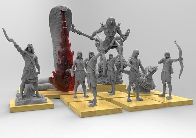 At our initial funding goal, The Egyptian Starter set will include 5 Egyptian archers, 1 Egyptian Greatest of 50, 1 Egyptian Uraeus, 1 flesh eating scarab swarm and Horus, Egyptian god of vengeance, sky, and protection.