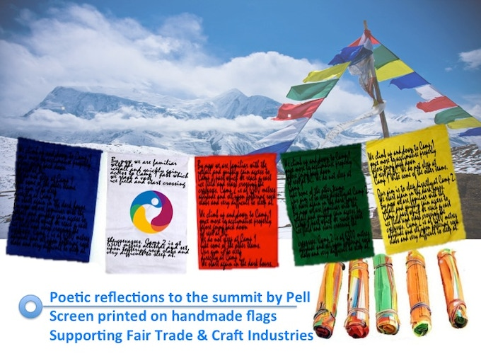 ∆ Hand Printed Fair Trade Prayer Flags (with poetic reflections to the summit by Pell)
