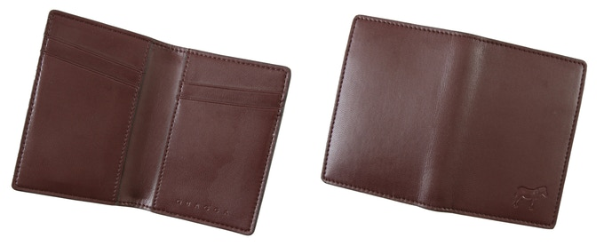 Quagga Bifold (Brown, 152 mm x 106 mm, Early Bird CAD$25 / Regular CAD$35) : Holds up to 14 cards + cash
