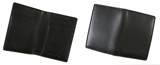 Quagga Bifold (Black, 152 mm x 106 mm, Early Bird CAD$25 / Regular CAD$35) : Holds up to 14 cards + cash