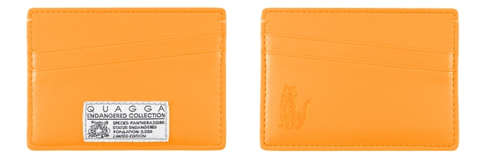 Endangered Tiger Collection - Single Cardholder (All Orange, 98 mm x 69 mm, CAD$39) : Holds up to 8 cards + cash