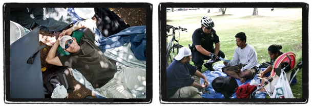 (Left) A man who is homeless rests surrounded by his belongings. (Right) A police officer gives a citation to a Micronesian family for having a makeshift shelter at a local park.