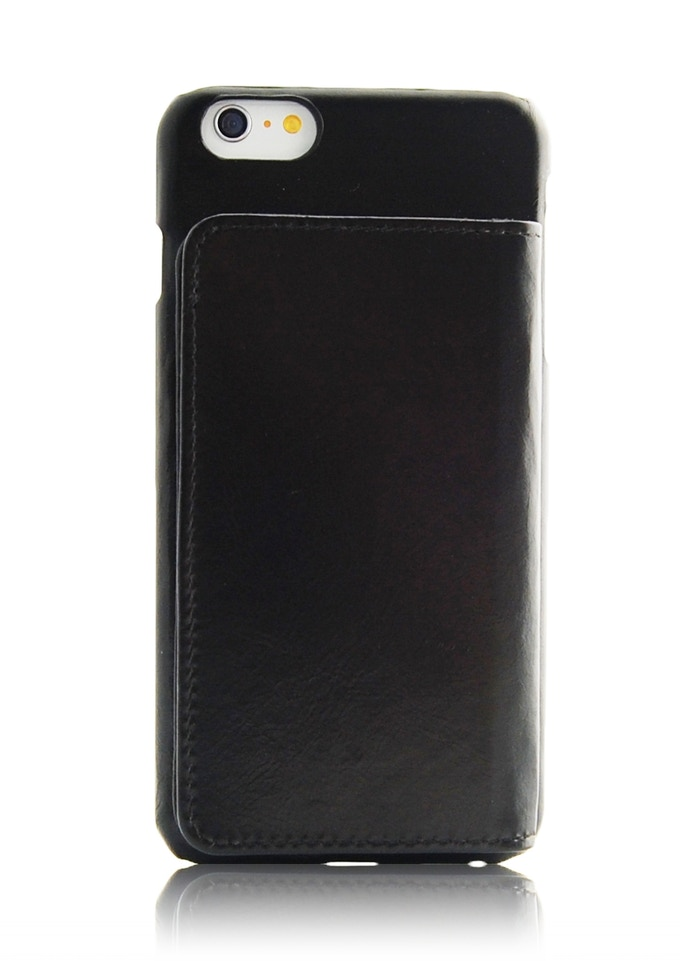 iPhone 6 Plus leather wallet case black color
