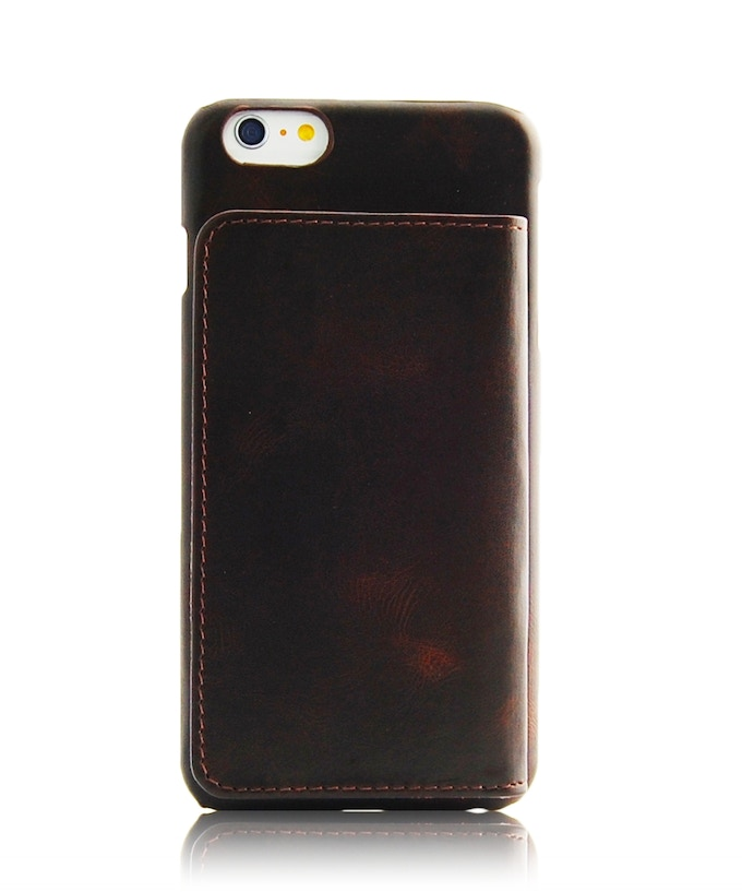 iPhone 6 Plus leather wallet case brown color