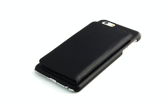 iPhone 6 Plus leather wallet case black color 2