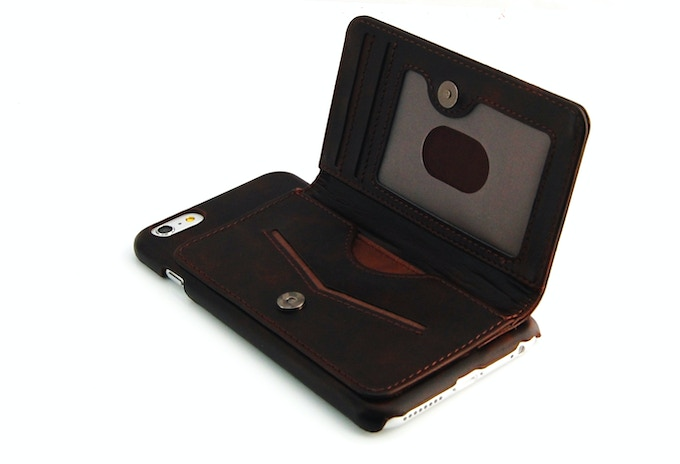 iPhone 6 Plus leather wallet case brown color inside
