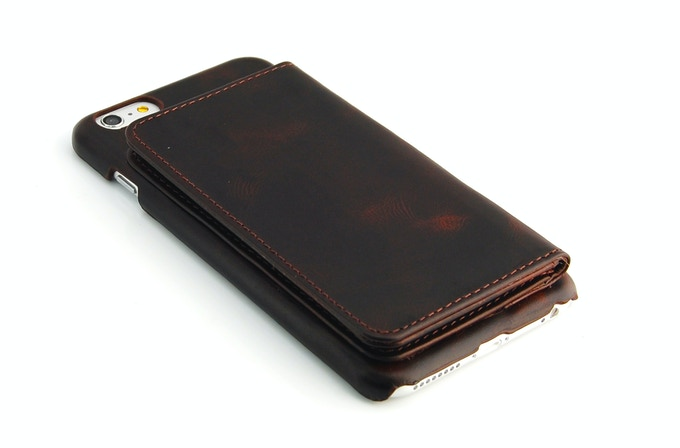 iPhone 6 Plus leather wallet case brown color outside