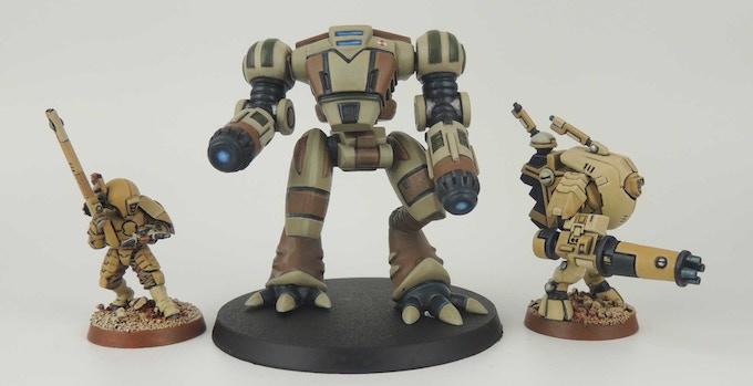 30mm Ayame Battlesuit alongside some GW Tau figures