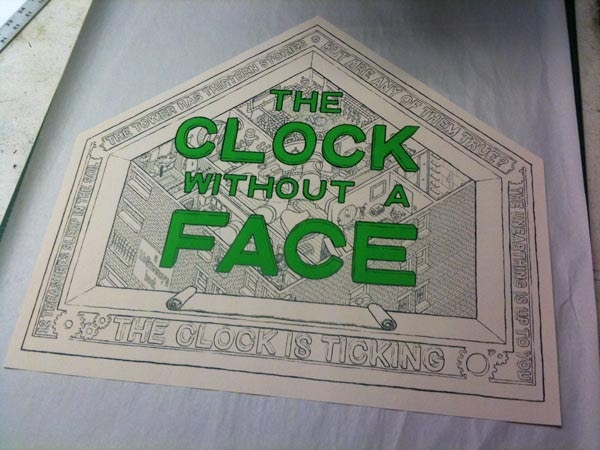 $150 pledge - super rare The Clock without a Face litho on a drying rack