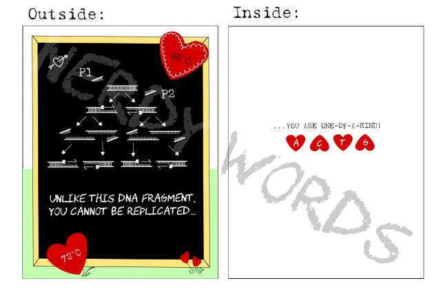 Outside: Unlike this DNA fragment, you cannot be replicated...   Inside: ... you are one-of-a-kind!