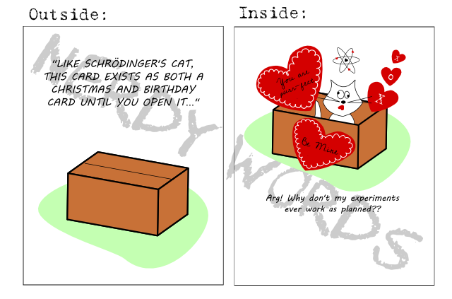 """Outside: """"Like Schrodinger's cat, this card exists as both a Christmas and birthday card until you open it...""""  Inside: """"Arg! Why don't my experiments ever work as planned!?"""""""