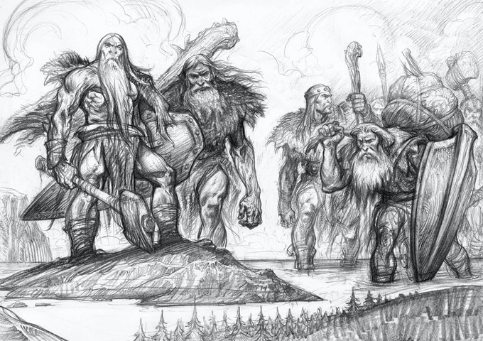 Combo Pack 4 - Original Drawing 4 - left half from page 25 and the right half from page 166 of The Book of Giants.