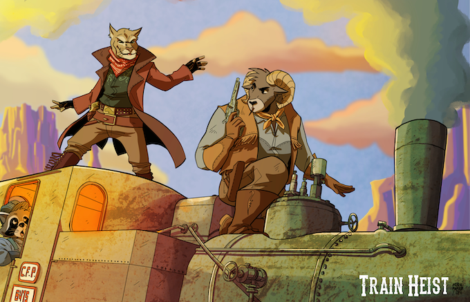 The image above is a sample of some of the art featured in the final rulebook! Lootin' the train with style!
