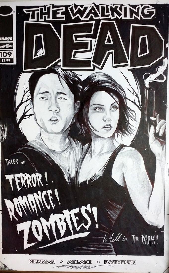The Walking Dead sketch cover by Brian Lopez-Santos
