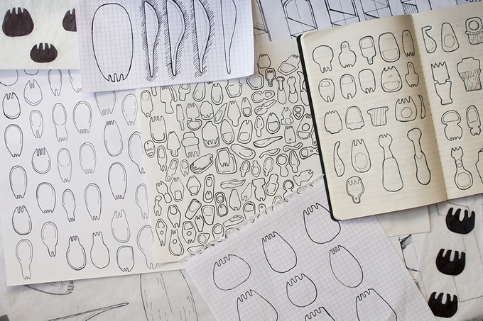 sketches from throughout the design process