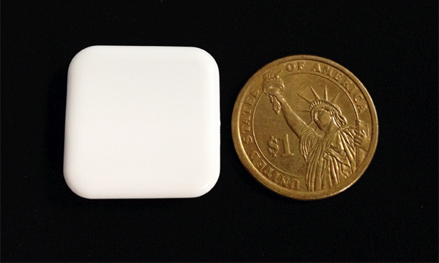 The size of iDo is about a quarter (26.5mm X 26.5mm X 7.6mm / 1inch X 1inch X 3inch)