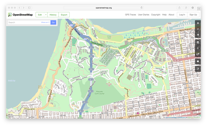 The Presidio in San Francisco on OpenStreetMap