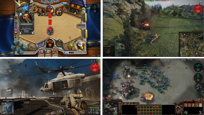 Top left to bottom right: Hearthstone, World of Tanks, Battlefield 4, StarCraft 2 with Quantified Gaming activated