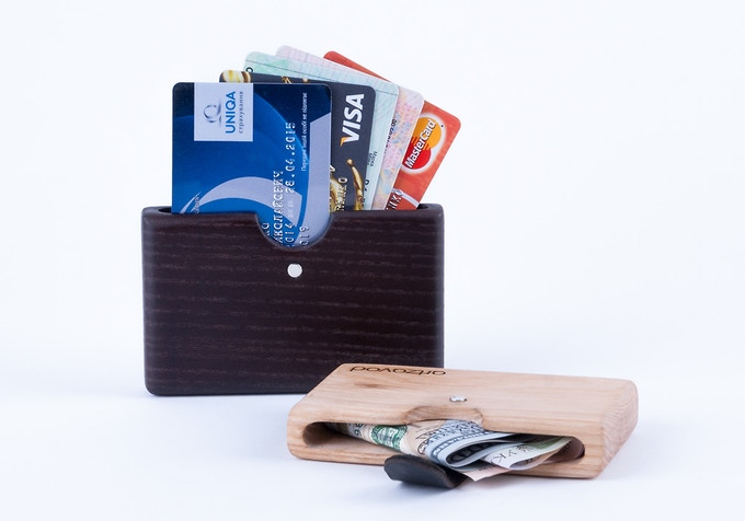 New Reward!!! Card Holder from natural wood and leather on neodymium magnets