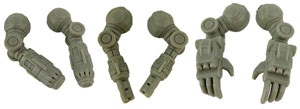Standard Ayame Kit Arms Master Castings - Left to Right, Particle Cannons, Assault Lasers, Combat Claws