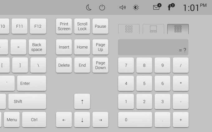 Standard keyboard (with numeric keypad, a touch-pad or a calculator)