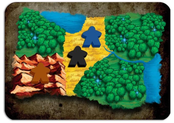 Il nano (marrone) sta raccogliendo metallo dalla Montagna. L'Umano e l'Orco (blu e nero) stanno dandosi battaglia o coabitando... probabilmente stanno battagliando :-D