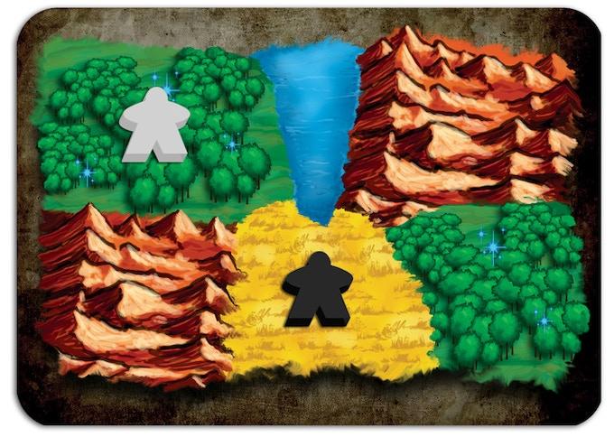 Il giocatore Elfo (bianco) sta raccogliendo Mana dalla Foresta, mentre l'Orco (nero) sta raccogliendo cibo dalla Pianura