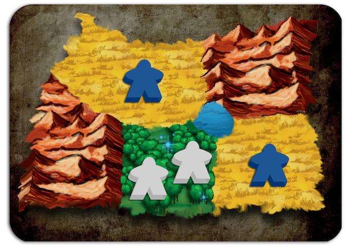 L'Elfo (bianco) sta fortificando la foresta in modo tale che nessun altro giocatore possa entrare, ma in questo modo sta guadagnando 1 Mana, non 2. L'Umano (blu) guadagna 2 risorse di Cibo.