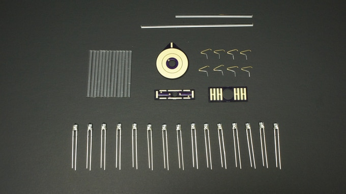 """Parts included in """"raw parts"""" kit (heat-shrink tubing not shown)"""