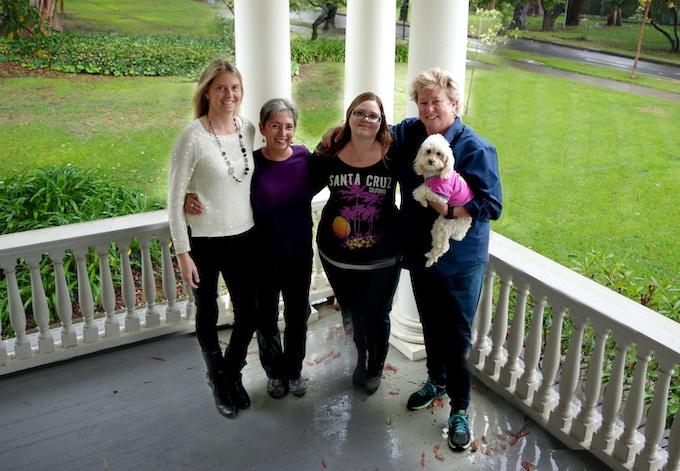 From left to right: Veronica, Cabrini, Trisha and Magi (and Bella)
