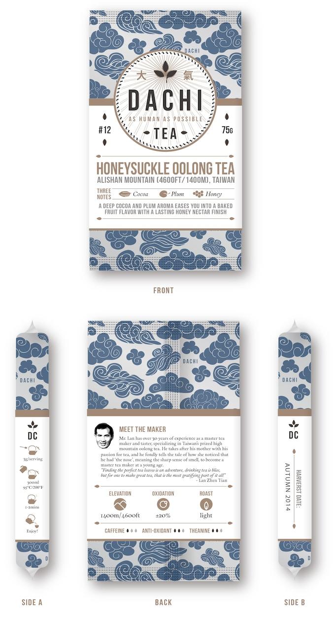 Dachi Tea Co's custom-designed and manufactured tea packaging