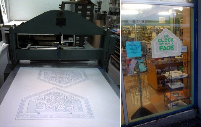 $150 pledge - super rare The Clock without a Face litho - during printing and ina  fancy-shmancy Manhattan bookstore window