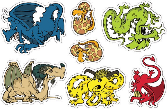 Sticker Sheet 3: Dragons