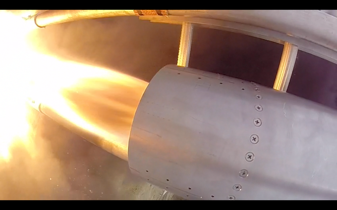 Up close view of a Mk IV hot fire test. The Mk V's predecessor, the Mk IV is a subscale motor used on the Quasar launch vehicle.
