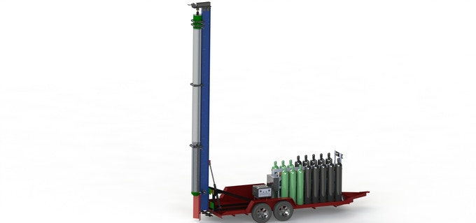 SolidWorks rendering of Atlas, the transporter and test stand for the Mk V motor.