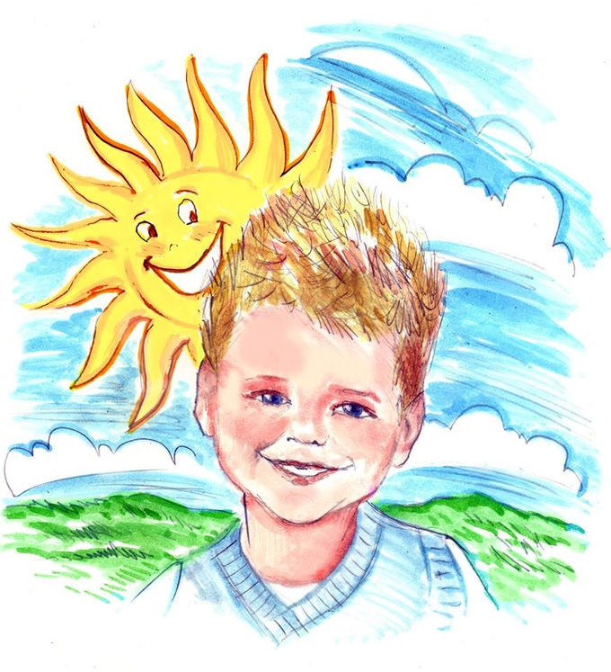 8x10 of Tripp smiling with a HAPPY SUN behind him