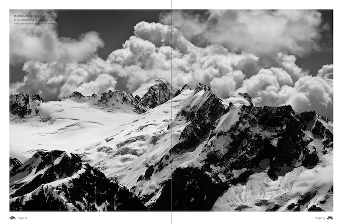 A two page spread in the American Alps Traverse