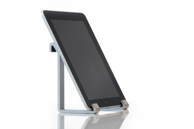 SUAS supporting an iPad at an ideal viewing angle.